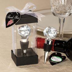 Crystal Ball Wine Stopper Favor | #exclusivelyweddings | #blackandwhitewedding