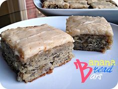 Banana Bread Bars - Holy wow . . . these are really good! As always, a few modifications - I used completely brown-skinned bananas, so I only used 1 c. of sugar. Didn't have sour cream, so I used 1/2 c. plain greek yogurt & 1/2 c. cream cheese. Seriously - these are not healthy, but they are really, really good! If you've got 3-4 over-ripe bananas - try this recipe!!!