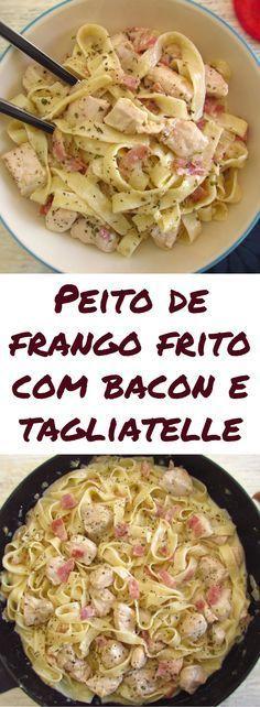 Peito de frango frito com bacon e tagliatelle | Food From Portugal. Se quer preparar uma refeição simples e rápida para o jantar temos a solução ideal para si! Esta receita de frango misturado com bacon e tagliatelle é deliciosa! Experimente, vai adorar… #frango #receita #tagliatelle #bacon