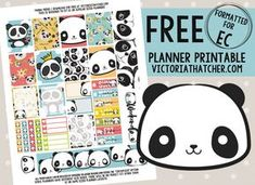 Free Printable Panda Planner Stickers from Victoria Thatcher