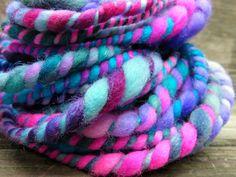 Handspun Yarn Art Yarn Bulky Thick and Thin by RainbowTwistShop