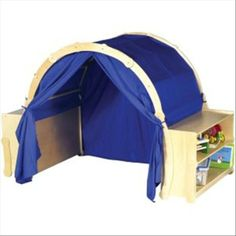 "Awesome ""reading/play nook"" using two small bookcases to ""anchor"" the supports for the fabric ""tent"""