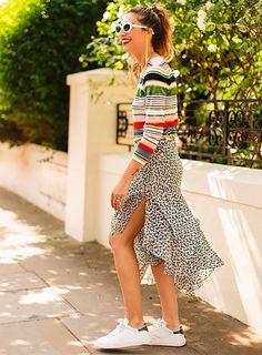 Striped top, printed midi skirt, sneakers