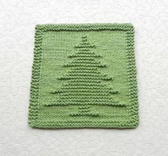 CHRISTMAS TREE Knit Dishcloth or Wash Cloth made of 100% cotton, sage green. Great hostess gift or stocking stuffer. Size: 8 x 8 Decorate your mountain lodge with this pretty pine tree / spruce tree design. This is a genuine, original design by Aunt Susan. I personally designed