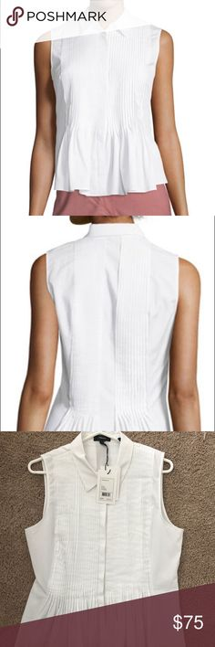 Theory Dionelle B Sartorial Pintuck White Top NWT New with tags - never worn.  Perfect condition.  Purchased months ago at Saks and like most Theory button down tops it is too tight in the bust!  Size Large but it does not accommodate my 34DD bust.  No flaws at all.  Truly never worn.  Paid full retail of $235.  Adorable sleeveless pleated poplin shirt.  Very sad it does not work for me! Theory Tops