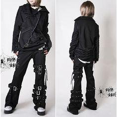 punk jeans | Plus Size Available Punk Rock Goth Fashion Pants Trousers Men Women ...
