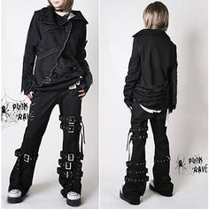 punk jeans | Plus Size Available Punk Rock Goth Fashion Pants Trousers Men Women ...