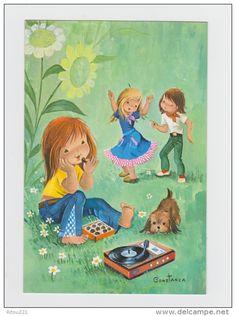 Illustrateur CONSTANZA - Fillette Danseuse Garçon Danse Tourne-disque Musique Chocolat Tournesol - Musique Et Musiciens