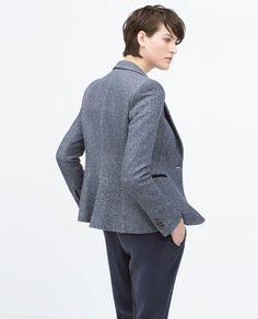 ZARA - COLLECTION SS15 - OOne-button plush #blazer #Style
