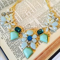 Faux Blue and Turquoise Statement Necklace Brand new. Never worn. Faux gold metal. Clasp closure. Adjustable chain length. Chunky blue and turquoise design. Cute piece! Jewelry Necklaces