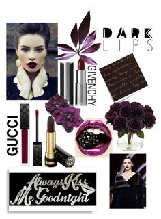 """""""dark blackberry lips"""" by willy3384 on Polyvore featuring beauty, Givenchy, Gucci, Post-It, Nearly Natural, blackberry and darklips"""
