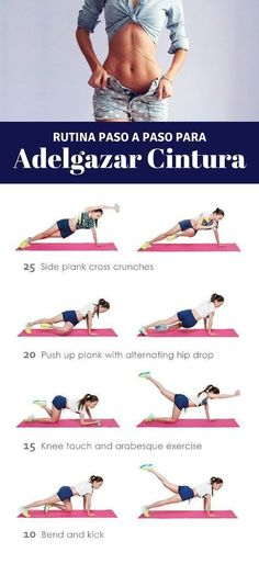 Ponte en forma con esta rutina de ejercicios para adelgazar la cintura. Más tips en nuestro artículo. | Ejercicios en casa para la cintura. #workput #ejerciciosparacintura