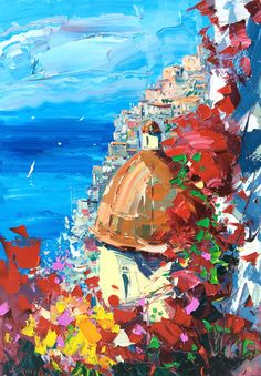 Positano Italië olieverfschilderij van AgostinoVeroni op Etsy