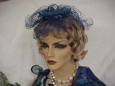 Bright cobalt blue flowers and nettting fascinator by designer2, $24.00