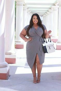 Stylish Grey Wrap Dress For Plus Size