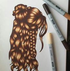 - ̗̀♔ Pinterest: @Write_Black ♔ ̖́- Copic, Belle Hairstyle, Harry Potter Drawings, Hair Reference, How To Draw Hair, Step By Step Drawing, Art Tips, Cool Drawings, Female Art