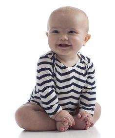 Look at this Yala Navy Chevron Long-Sleeve Bodysuit - Infant on today! Cute Kids, Cute Babies, Hospital Bag Essentials, Navy Chevron, Organic Baby Clothes, Long Sleeve Bodysuit, Baby Love, Baby Baby, Bunt