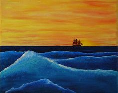Perse Original 8x10 Oil Painting Sunset Nautical Ship Ocean Waves Inspired by Stephen King's Duma Key by fitsandarts on Etsy