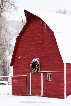 Snowy Red Christmas Barn These are my kind of people.  They decorate everything for Christmas.  Brenda Dunlap
