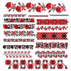 Free cross stitch borders in red and black