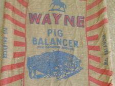 Vintage BURLAP FEED GUNNEY SACK Wayne Pig Balancer gunny cloth farm bag
