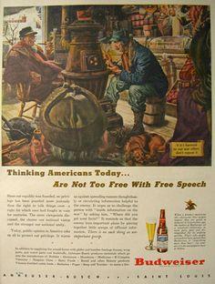 1944 WWII Budweiser Beer Ad ~ Free Speech ~ Albert Dorne