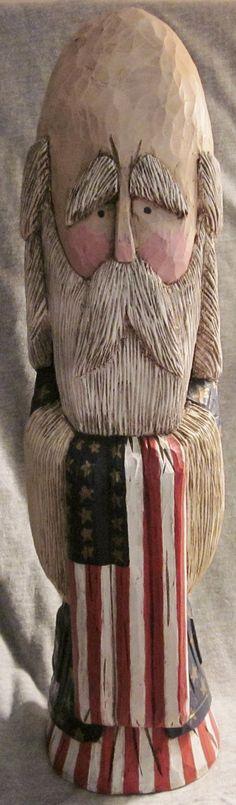 Hand Carved Patriotic Santa by CarvingsbyMehaffey on Etsy