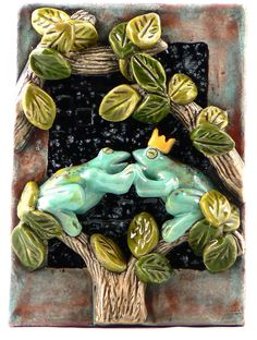 Ceramic Tile Two Frogs by tilebyfire on Etsy