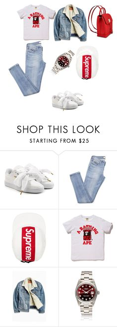 """""""Casual Tom girl $lay."""" by killadime ❤ liked on Polyvore featuring Puma, A BATHING APE, Levi's, casualoutfit and hypebae"""