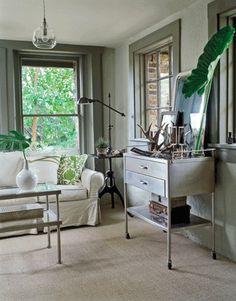 The porch/sunroom needs a bar cart.