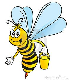 Illustration about A cartoon honeybee flying with honey pot on white background. Illustration of clipart, clip, flying - 3100362 Honey Bottles, Cartoon Bee, Backyard Beekeeping, Bee Art, Illustrations And Posters, Bee Keeping, Painted Rocks, Tweety, Wall Decals