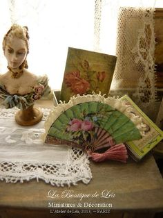 Pink roses, Victorian green fan, XVIIIth century , French boudoir, Accessory for French dollhouse miniature 1:12th scale