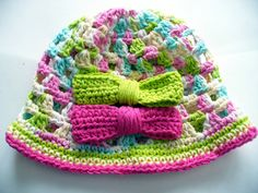 Pretty Cotton Summer Hat with Bows by ACCrochet on Etsy, $18.00