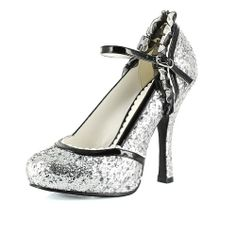 4 Inch High Heel Womens Shoes Glitter Ruffle Bow Mary Jane Pumps
