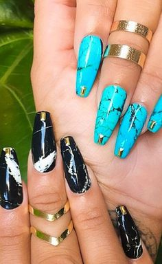 Marbled-effect nails look great with gold jewellery.