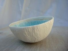 Melon bowl, poetic object for the house, porcelain bowl, blue copper enamel, aquamarine ceramic, floating candle centerpieces - pinned by pin4etsy.com
