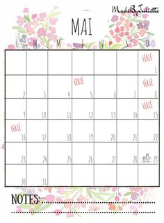 - MAI 2016 - Imprimes le calendrier pour customiser ton agenda. A voir: vidéo sur ma chaîne!