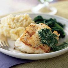 Pan-Seared Cod with Basil Sauce | MyRecipes.com