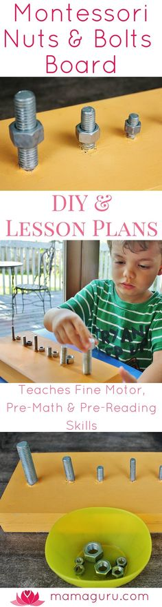 Montessori Nuts and Bolts Board ♥ Montessori at Home ♥ Homeschool ♥ Preschool ♥ Fine Motor Skills ♥ DIY ♥ Free Lesson Plans
