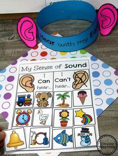 5 Senses Sense of Sound Preschool Game Five Senses Preschool, 5 Senses Activities, My Five Senses, Body Preschool, Preschool Lesson Plans, Preschool Learning Activities, Preschool Curriculum, Preschool Science, Preschool Classroom