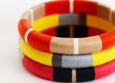 Tangerine Colorblock Thread Bangle Bracelet by theglossyqueen, $24.00