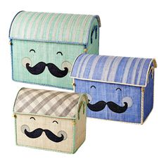 Funky raffia toy boxes by RICE.DK at www.pinksandgreen.co.uk
