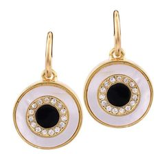 Shiny Crystal Gold\Silver Color Shell Alloy Round Pendant Enamel Statement Dangle Earrings Jewelry