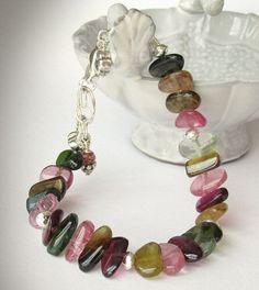 Multicolor Tourmaline Bracelet Sterling Silver by jQjewelrydesigns