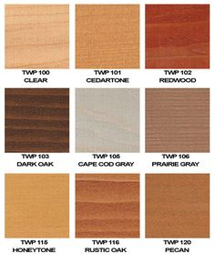 twp stain on western red cedar color chart Interior Wood Stain Colors, Exterior Wood Paint, Deck Stain Colors, Exterior Stain, Wood Deck Stain, Stained Concrete, Wood Stain Color Chart, Paint Color Chart
