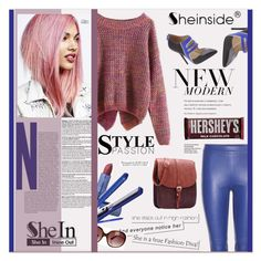 """""""Sheinside contest : Long Sleeve Purple Sweater"""" by meylimayli ❤ liked on Polyvore featuring L.A.M.B., Emilio Pucci, Lipstick Queen, Urban Decay, Sutra, Oliver Peoples and Hershey's"""