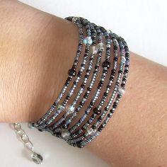 Witches' Brew Memory Wire Bracelet Black Grey
