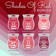 ❤️ Scentsy Shades of Red wax bars! Buy 5 get 1 free! Bundle save under specials on my site! Scented Wax Warmer, Wax Warmers, Smell Good, Shades Of Red, Scentsy, Independent Consultant, Candles, Direct Sales, Bar