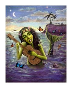 THE GREEN MERMAID. Mermaid in water playing guitar with butterflies. Limited Edition Giclee Print by John Dinser. $50.00, via Etsy.