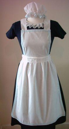LADIES APRON & MOP CAP ONLY blue lace Victorian Edwardian Alice fancy dress set
